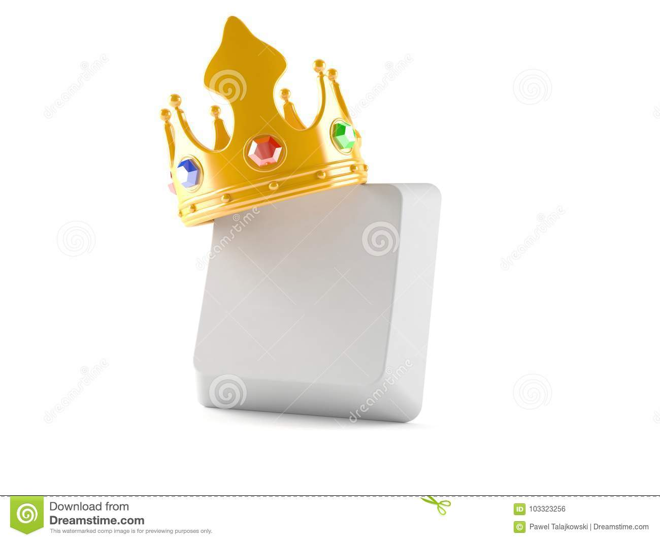 Computer Keyboard Button With Golden Crown Stock Illustration