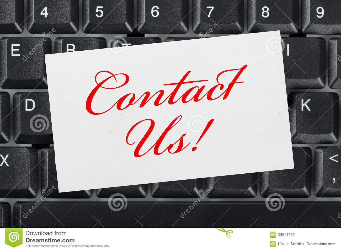 computer keyboard and card contact us stock photography