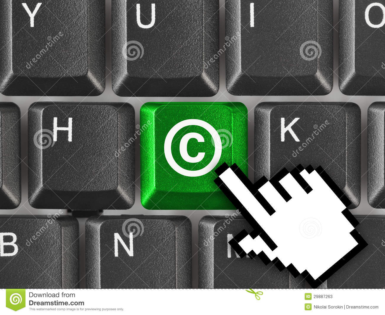 Computer Keyboard With Copyright Symbol Stock Image Image Of