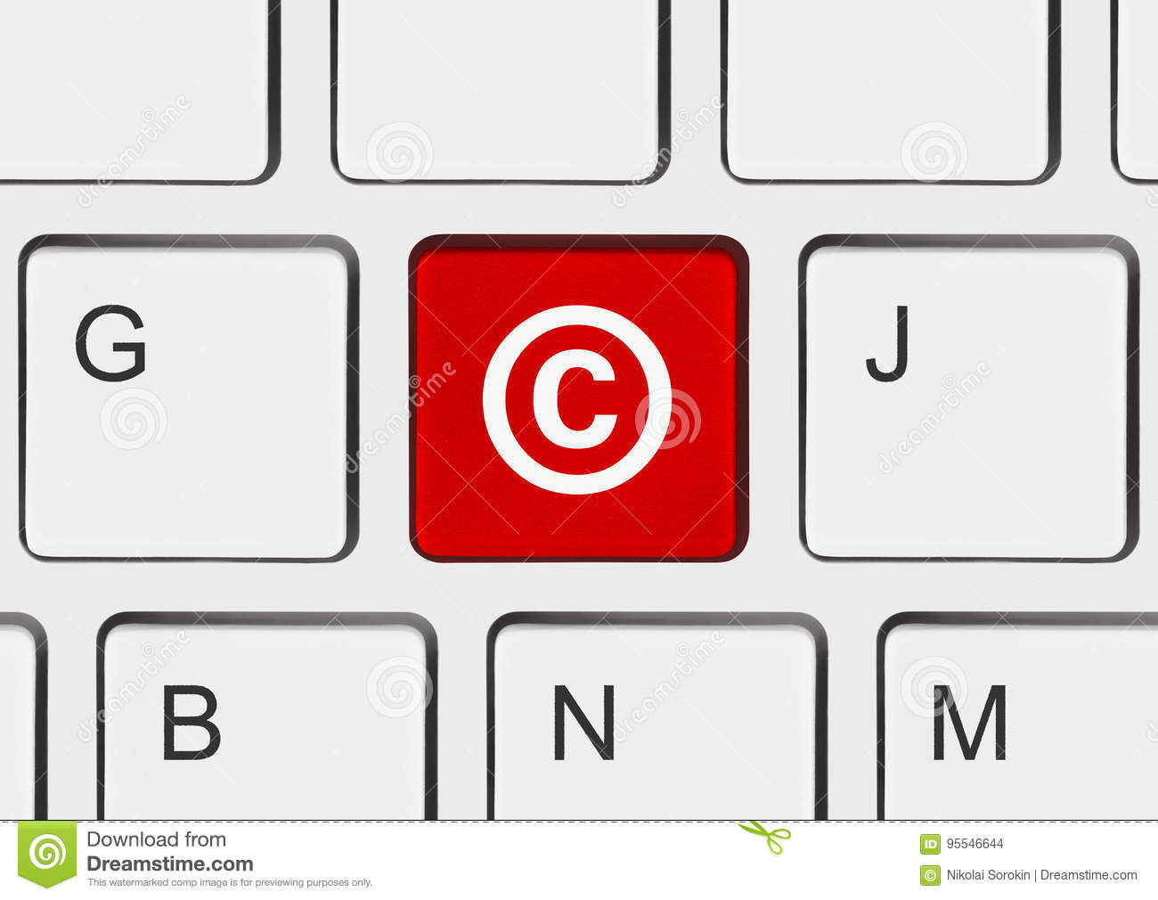 Computer Keyboard With Copyright Symbol Stock Illustration