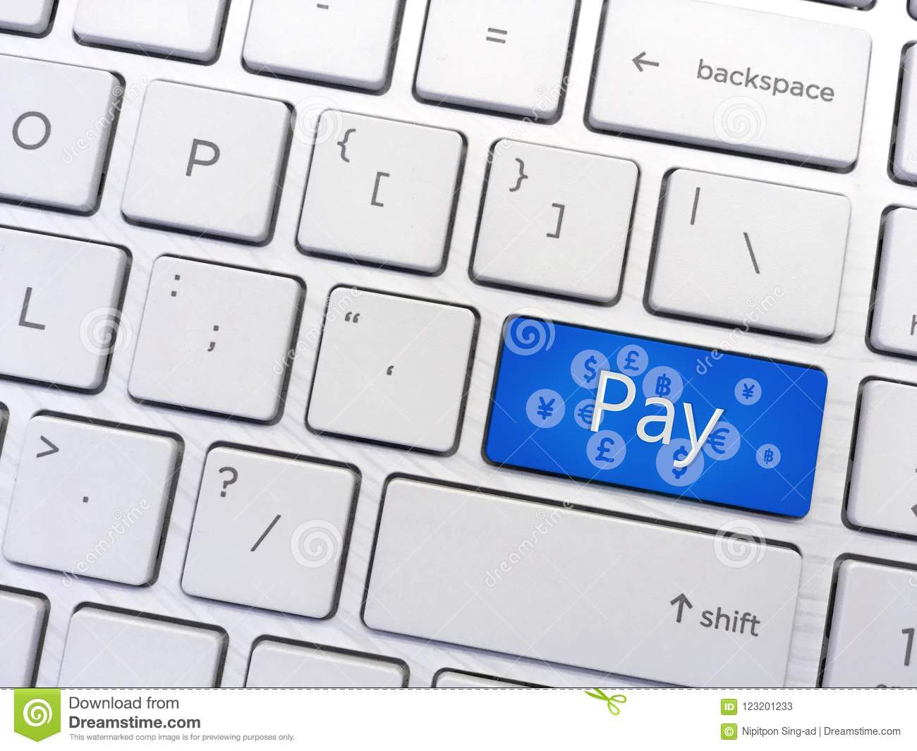 Computer Keyboard Enter Button With Payment And Symbol Stock Image