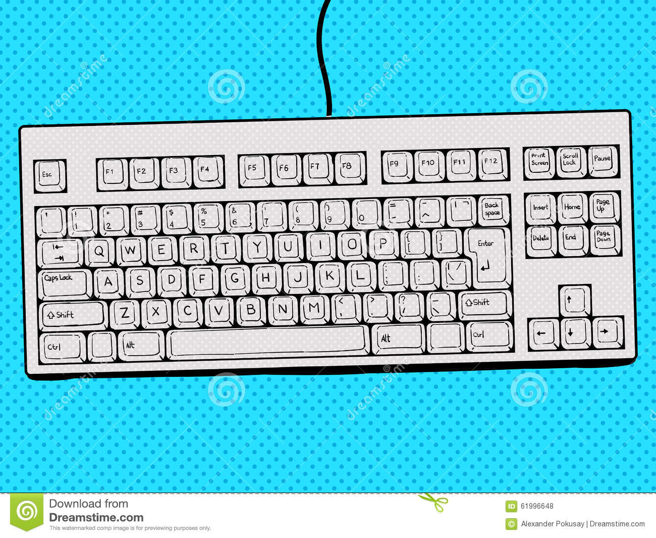 computer keyboard hand drawn pop art style vector stock vector image 61996648. Black Bedroom Furniture Sets. Home Design Ideas