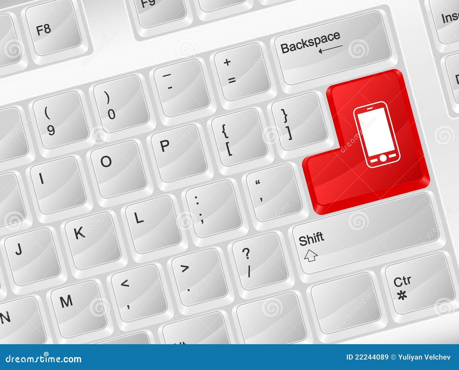 Computer Keyboard Mobile Phone Symbol Stock Vector Illustration Of