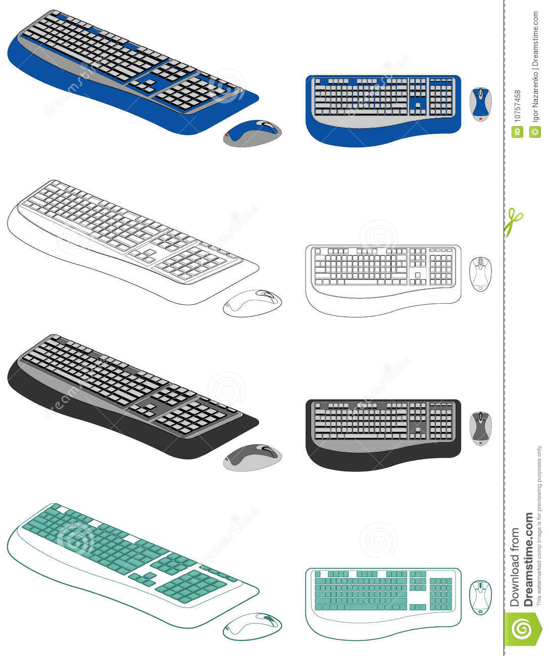 Illustration of computer keyboard and mouse in different styles