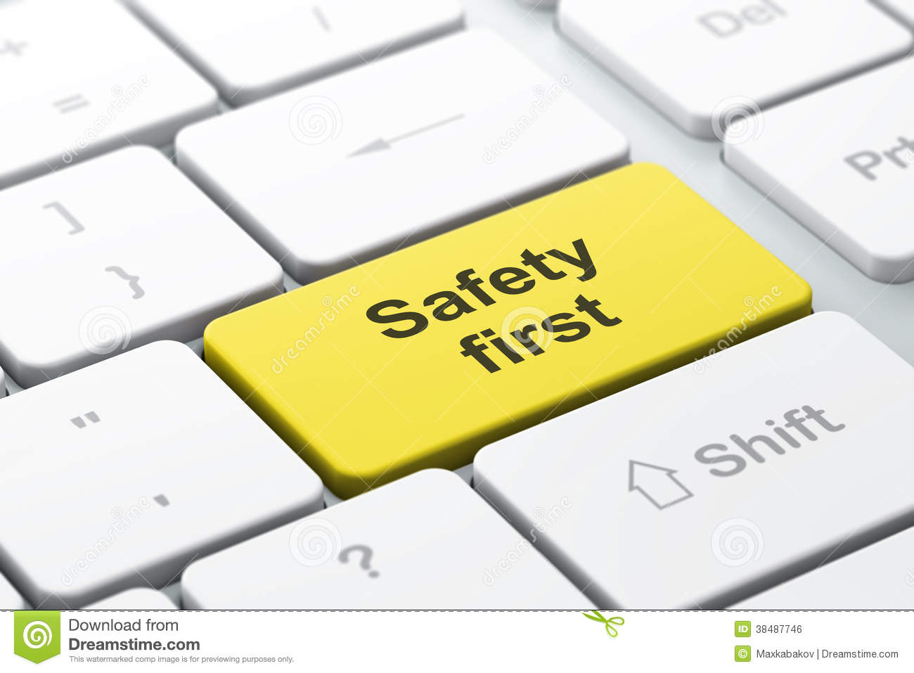 Computer keyboard with Safety First