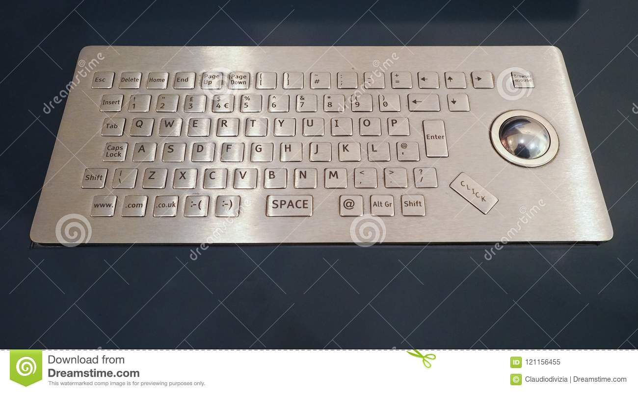 a1a1b8fb2e1 Computer Keyboard With Trackball Stock Image - Image of metal ...