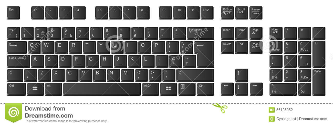 Computer Keyboard, UK Layout, Black Keys Stock Illustration