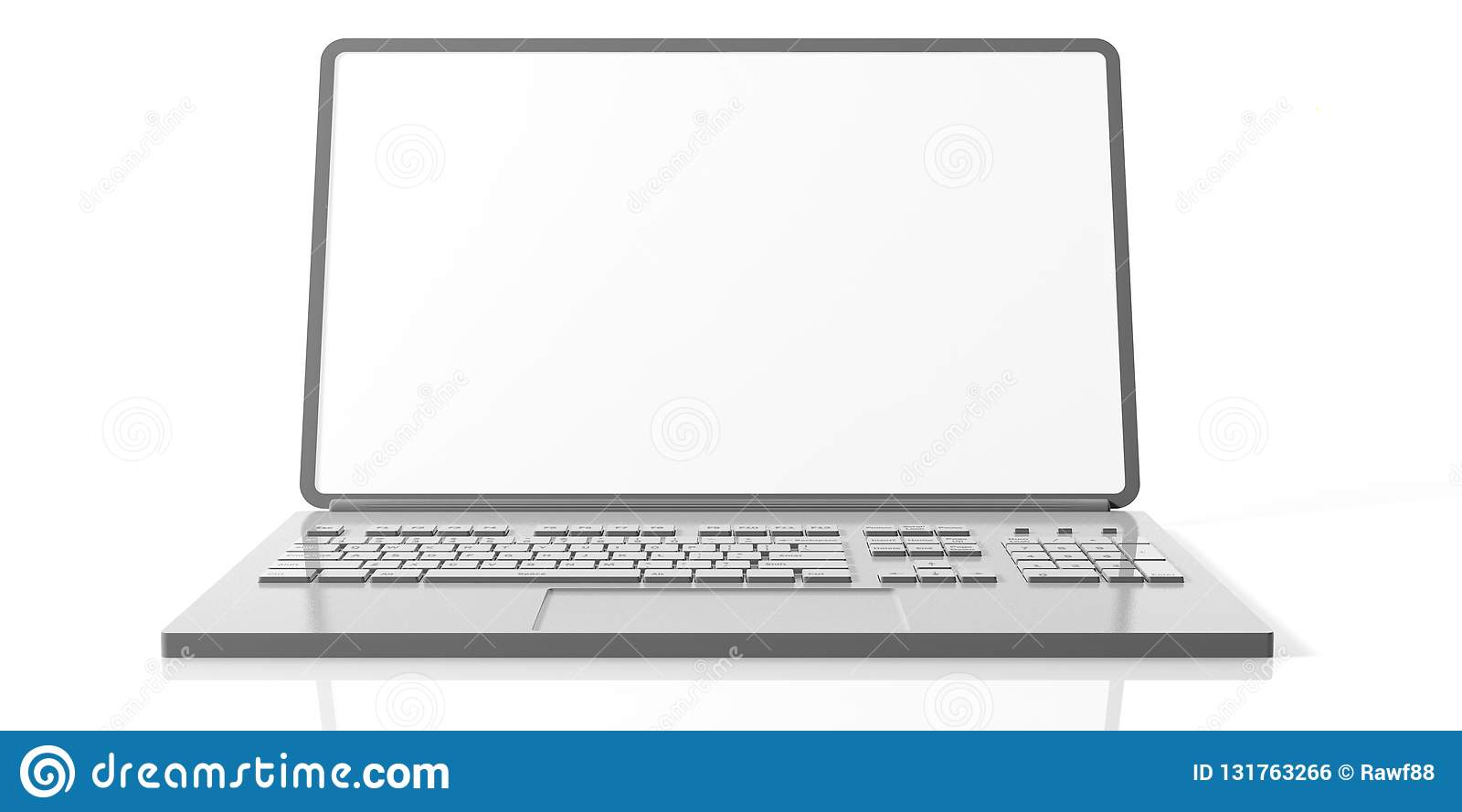 Computer laptop with blank screen isolated on white background, front view.