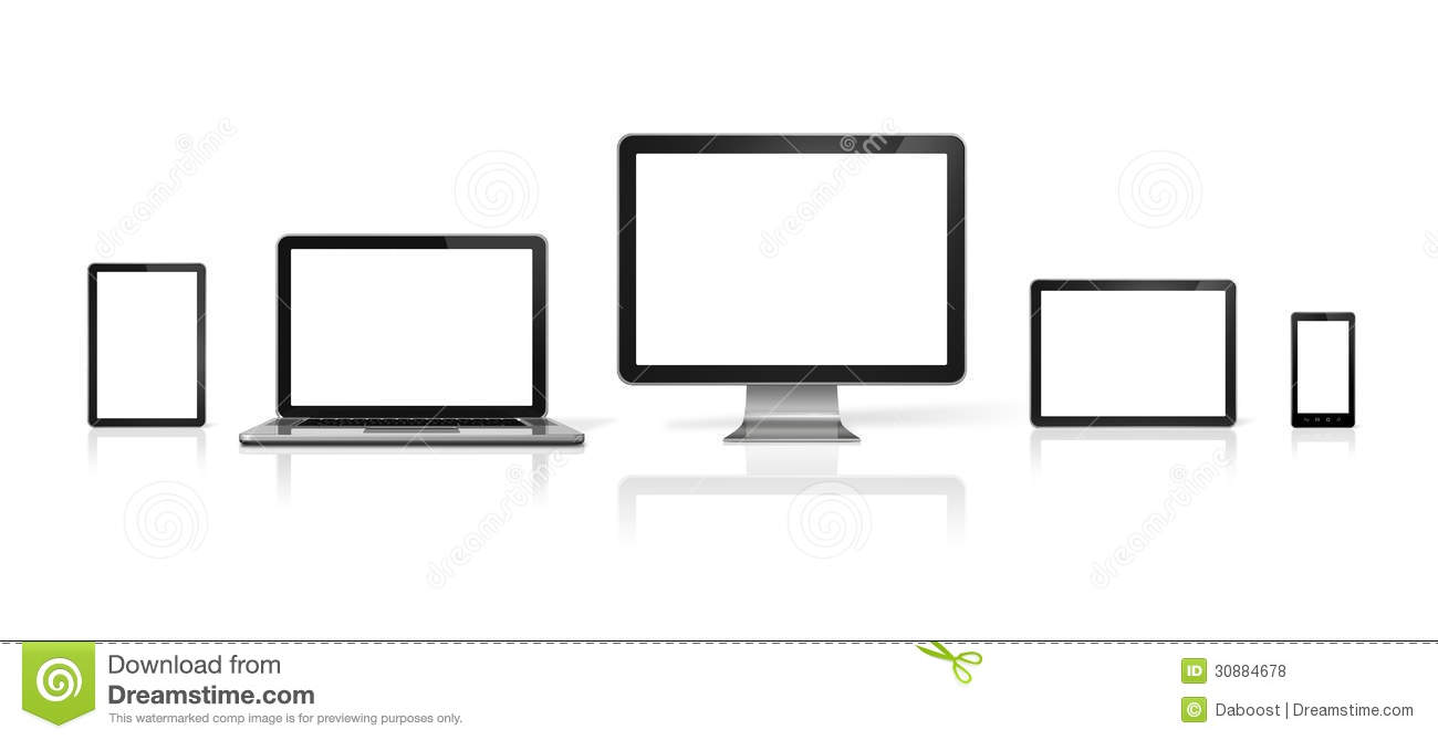 computer  laptop  mobile phone and digital tablet pc stock illustration