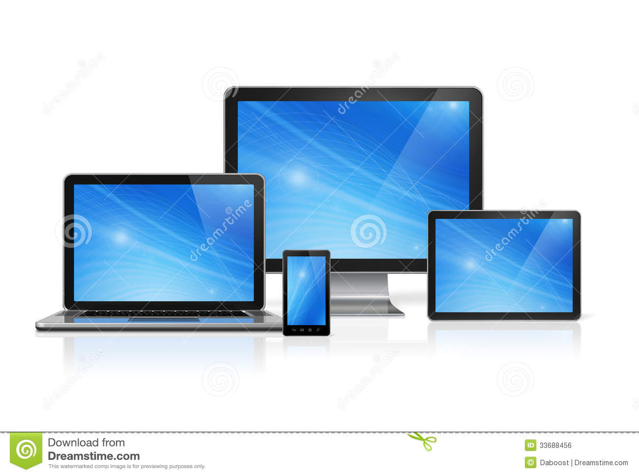 Computer, Laptop, Mobile Phone And Digital Tablet Pc Royalty Free ...