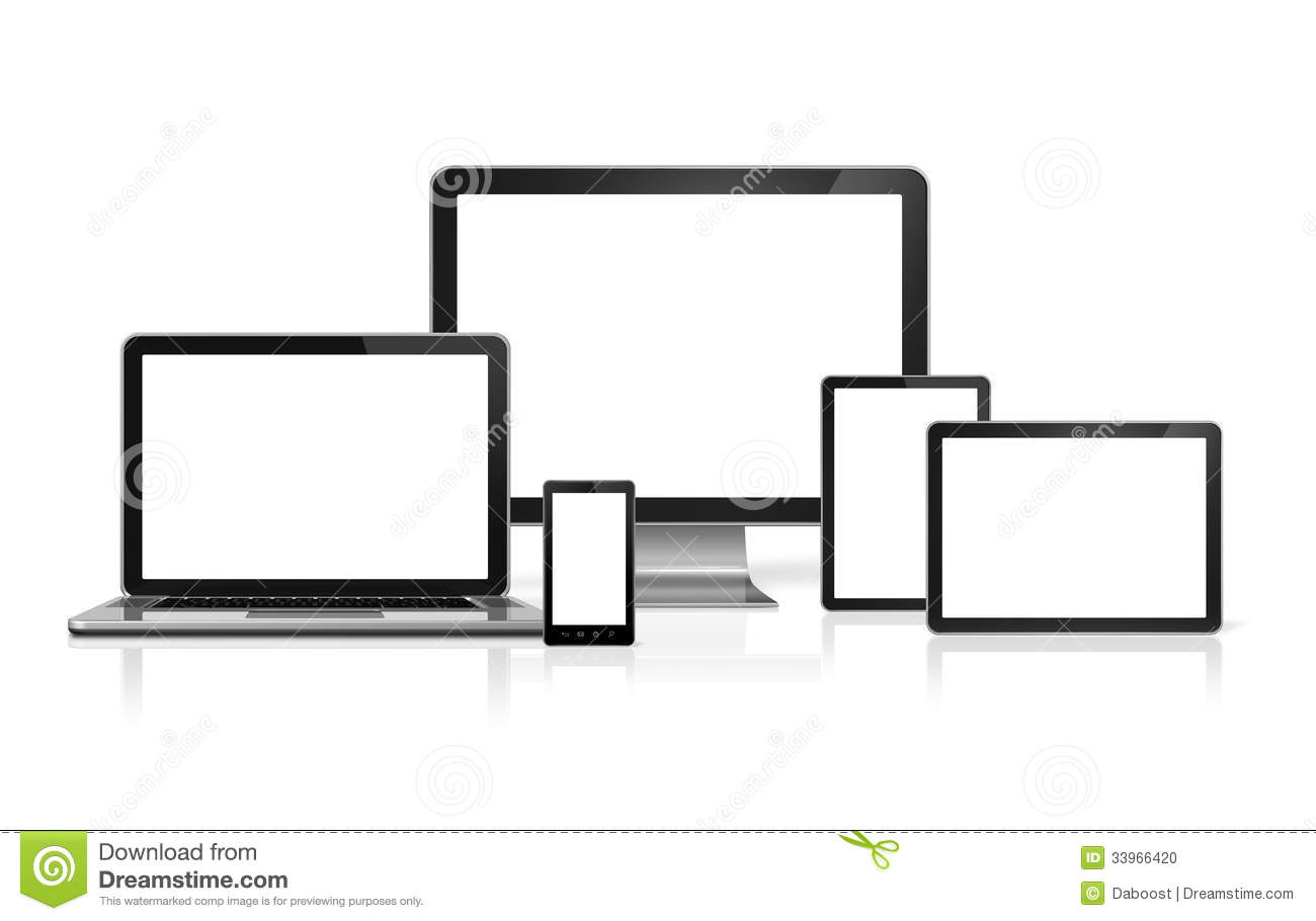 3D computer, laptop, mobile phone and digital tablet pc - on white
