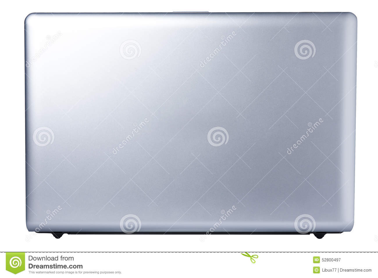 computer laptop open back view isolated stock image