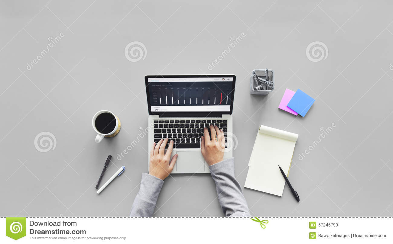 computer laptop research working desk concept stock