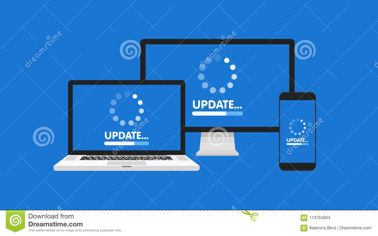 Computer, Laptop And Smartphone With Update Process Screen  Install