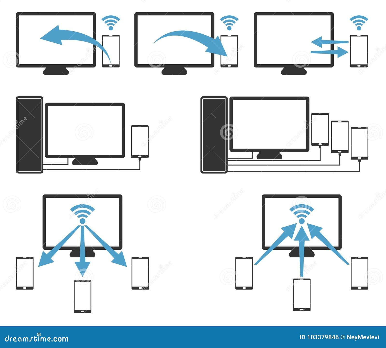 Computer, leptop, Notizbuch zum handphone mit Radioapparat und Kabel