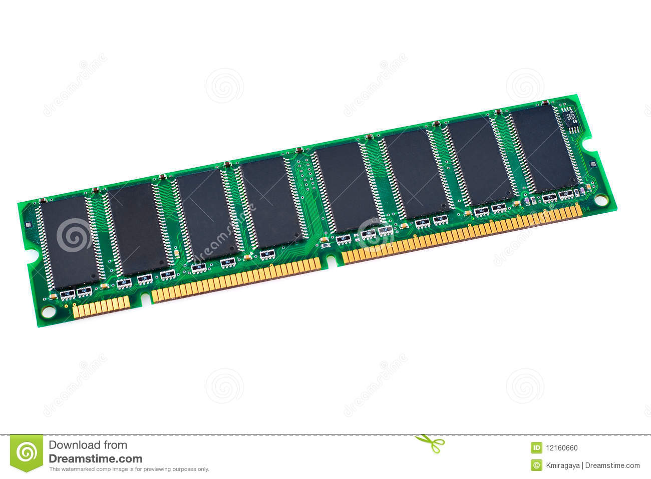 Computer Memory Chip In A White Background Stock Photo