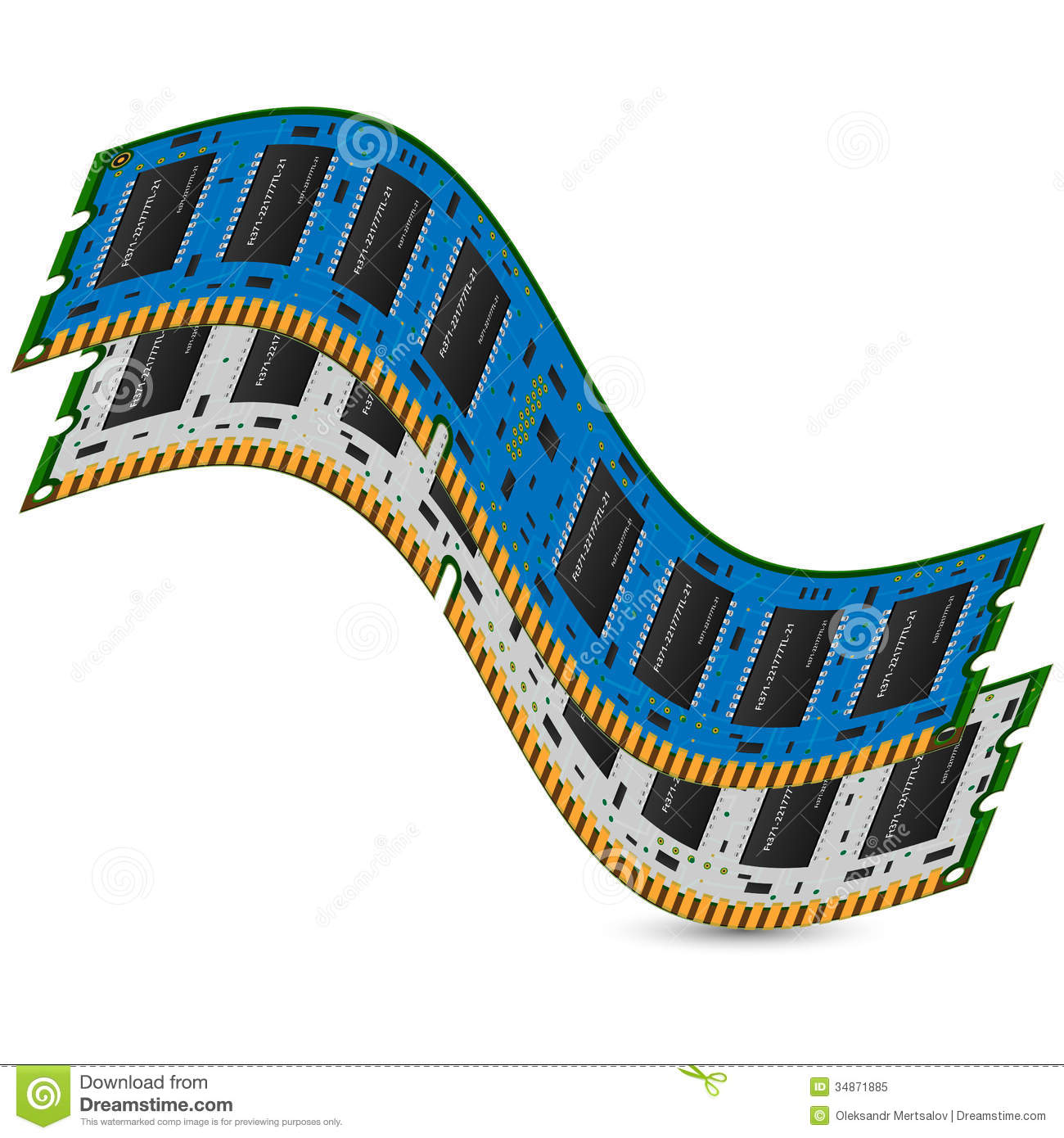 Computer Memory Stock Illustration Of Background Ram Chips With Binary Code A Circuit Board Microchip Electronics Chip In Computers