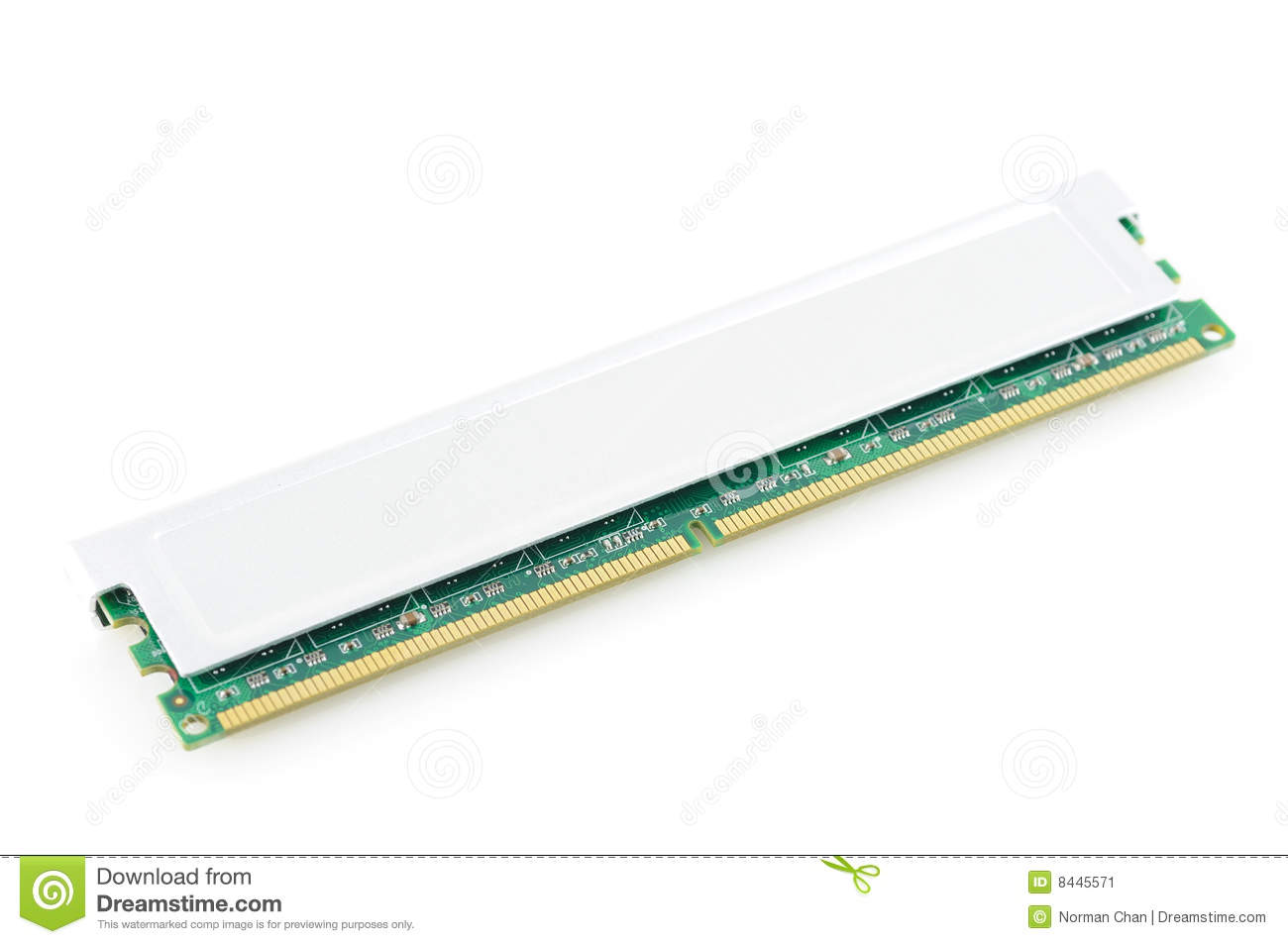 Computer memory module in isolated white background
