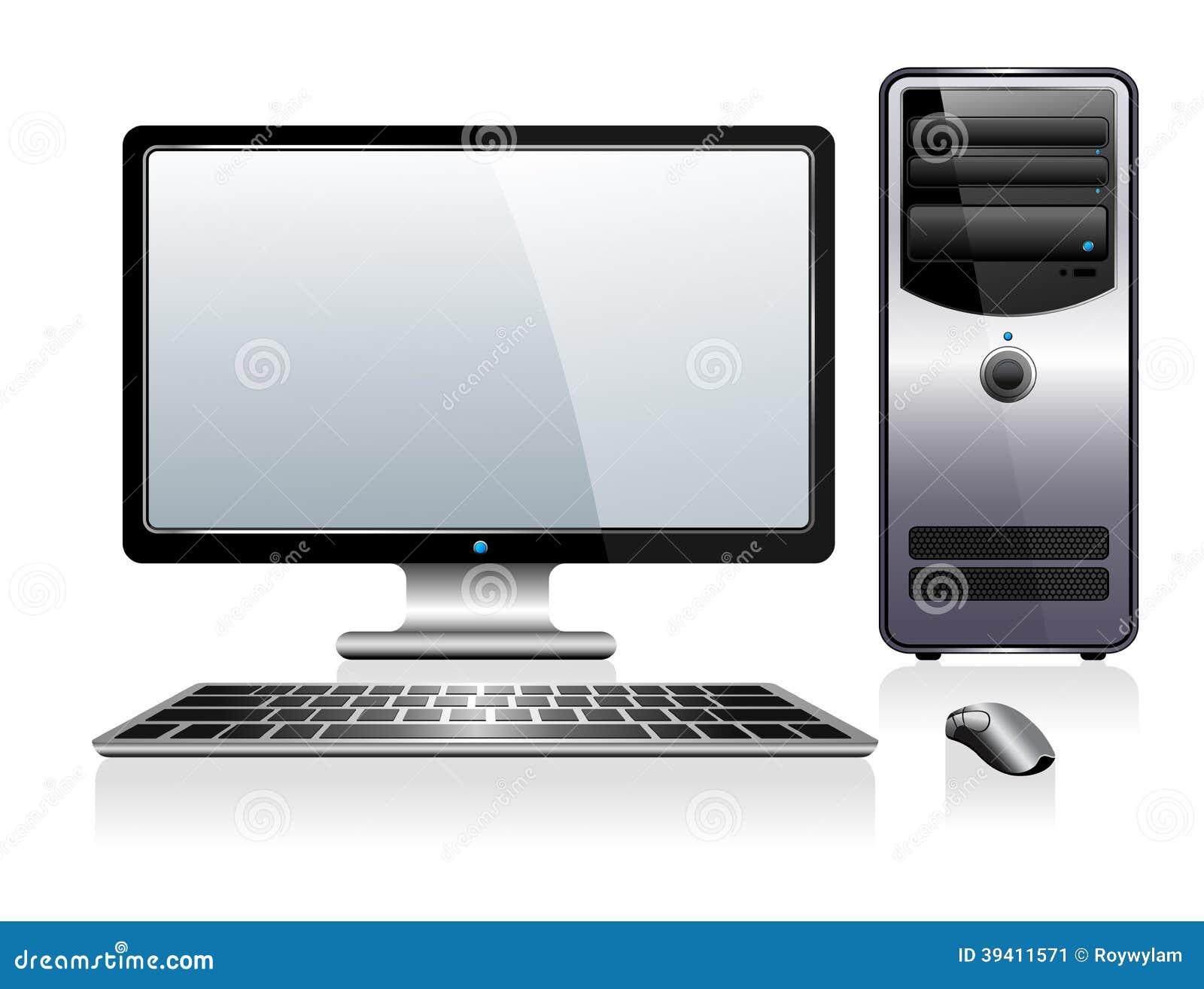 Computer Mit Monitor Tastatur Und Maus Vektor Abbildung
