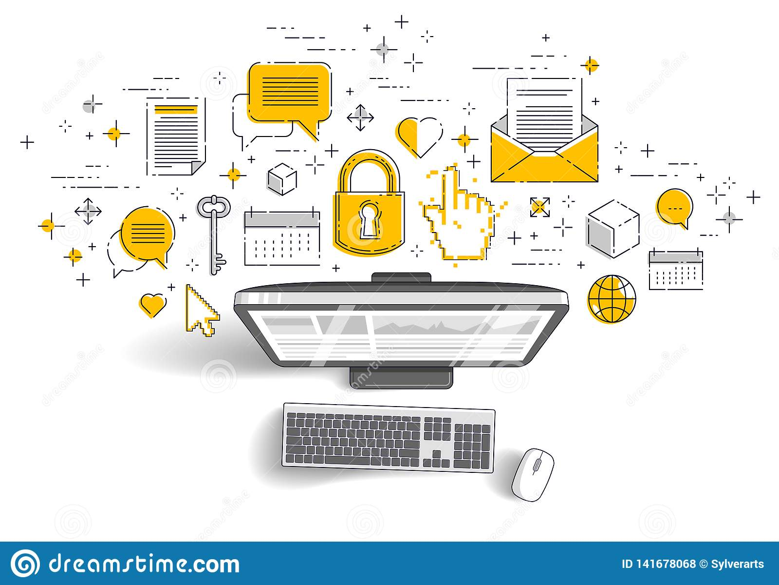 Computer mit Statistiken infographics und Satz Ikonen, on-line-Geschäft, elektronische Finanzen des Internets