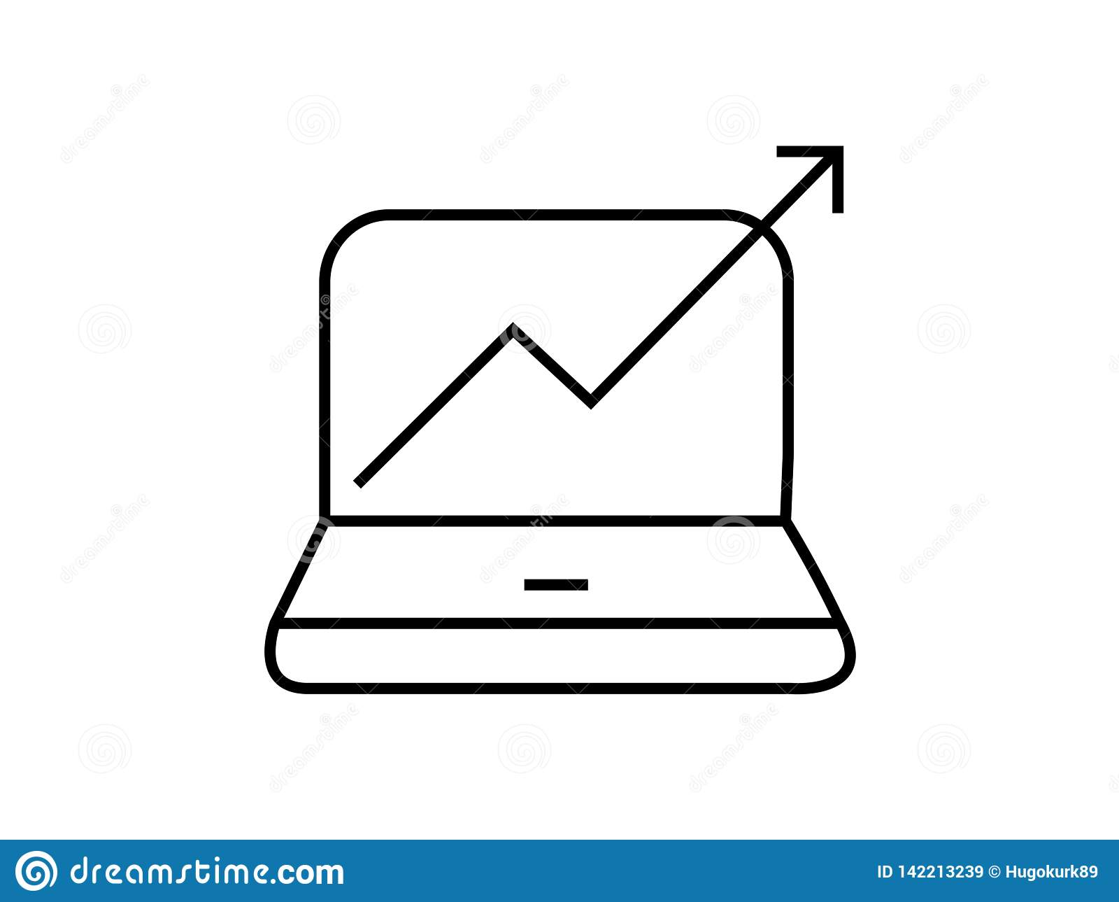 Computer mit steigendem Diagrammsymbol