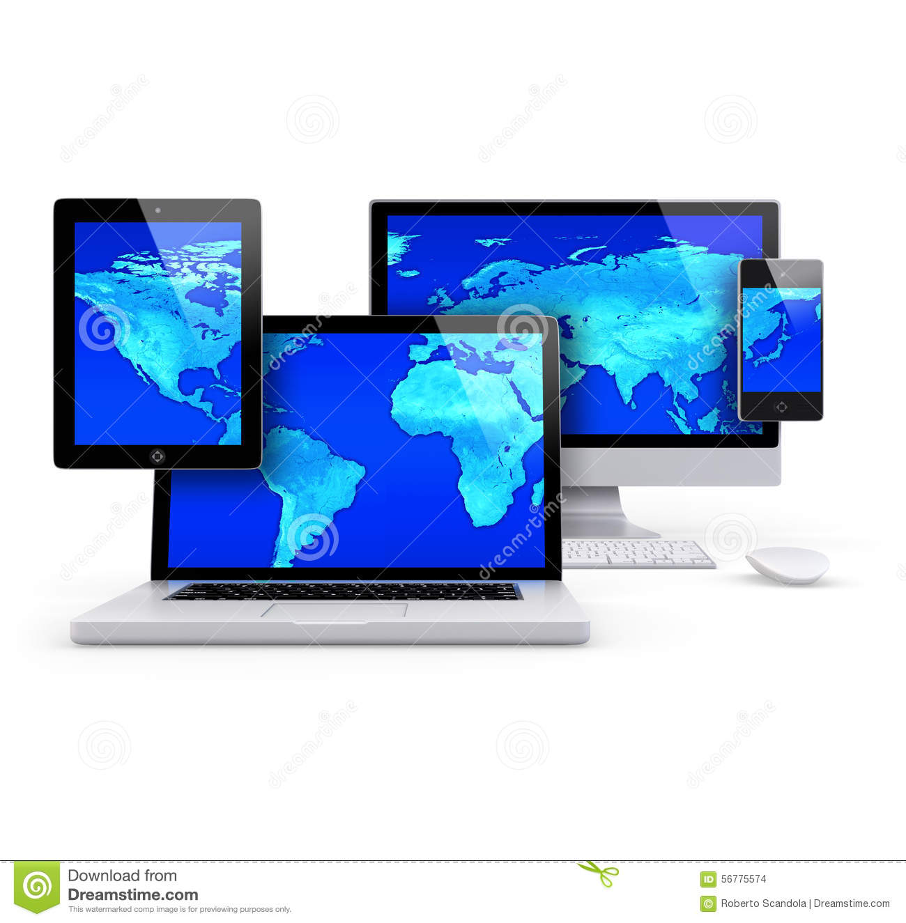 Computer and mobile group concept with blue world map stock computer and mobile group concept with blue world map royalty free illustration gumiabroncs Gallery
