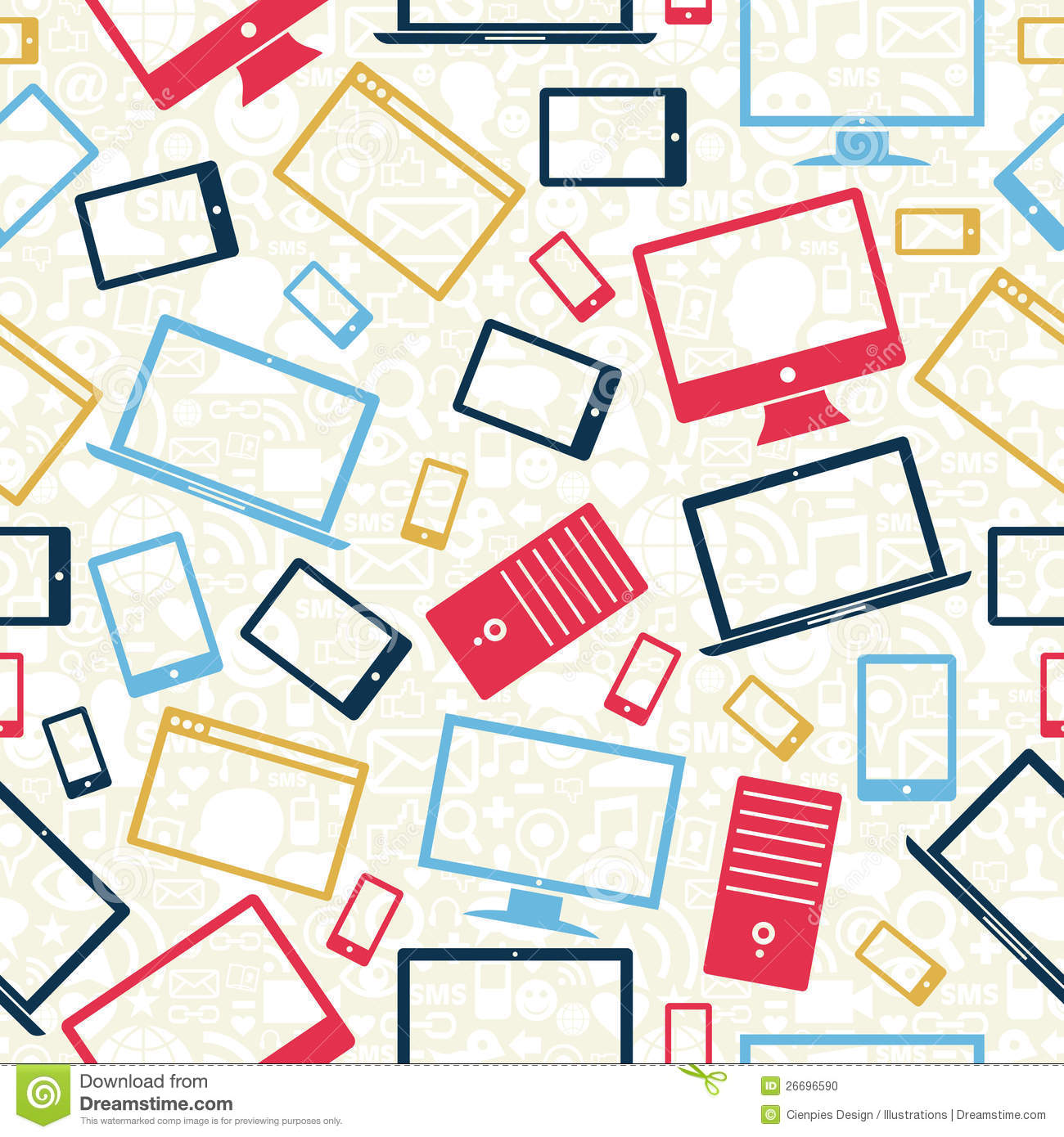 Computer Mobile And Tablet Icons Seamless Pattern Stock