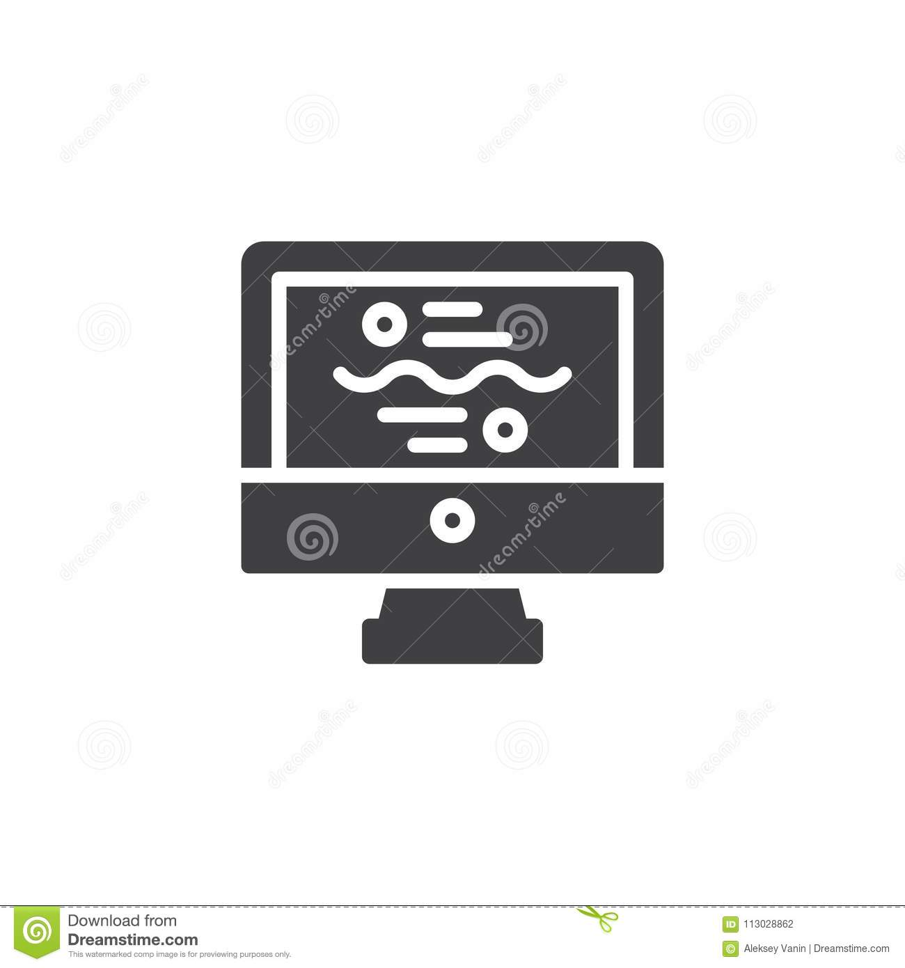 Computer monitor with analytics vector icon