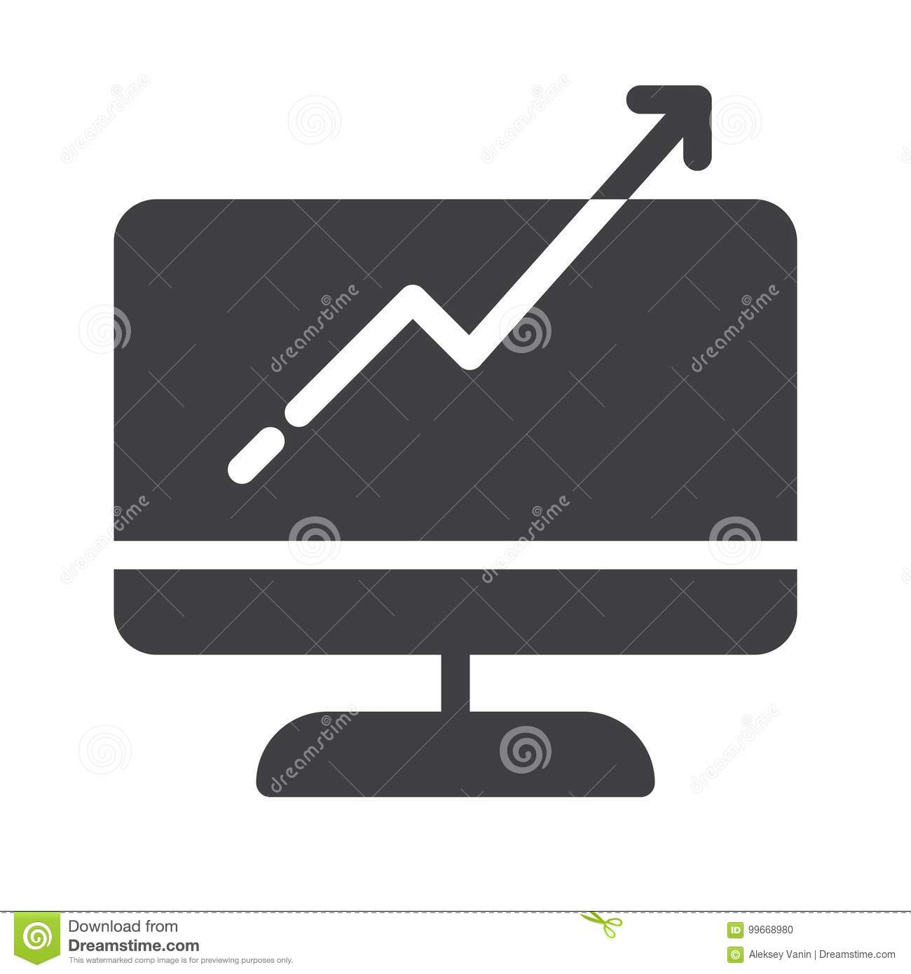 Computer monitor with business graph growing chart icon vector