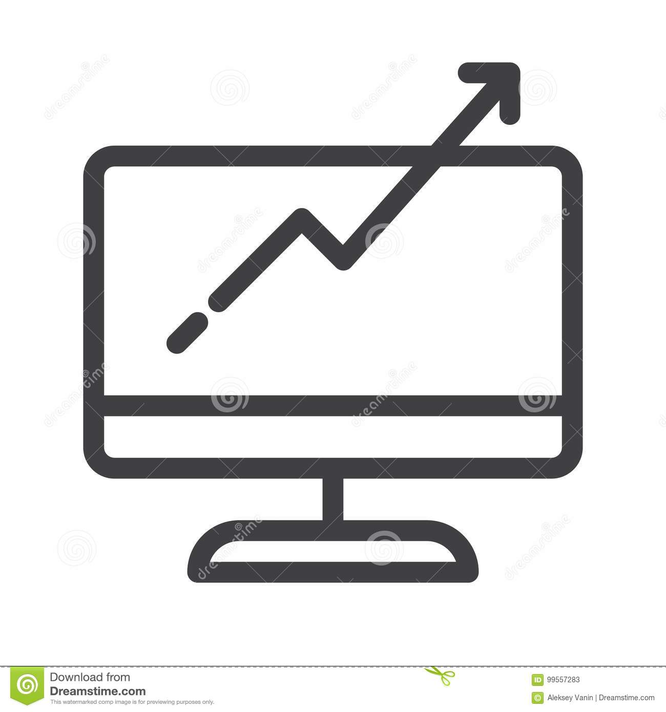 Computer monitor with business graph growing chart line icon