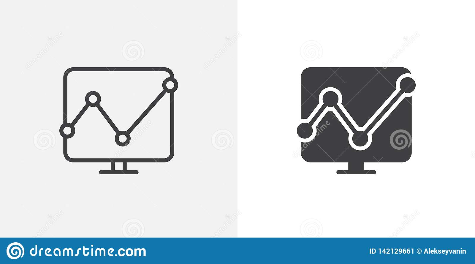 Computer monitor with business graph icon