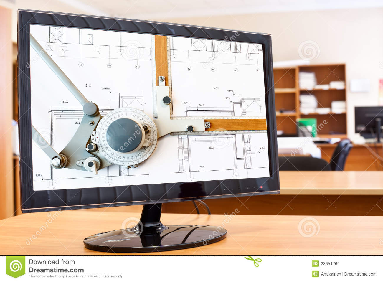 Computer Monitor With Drawing Board Stock Photo Image