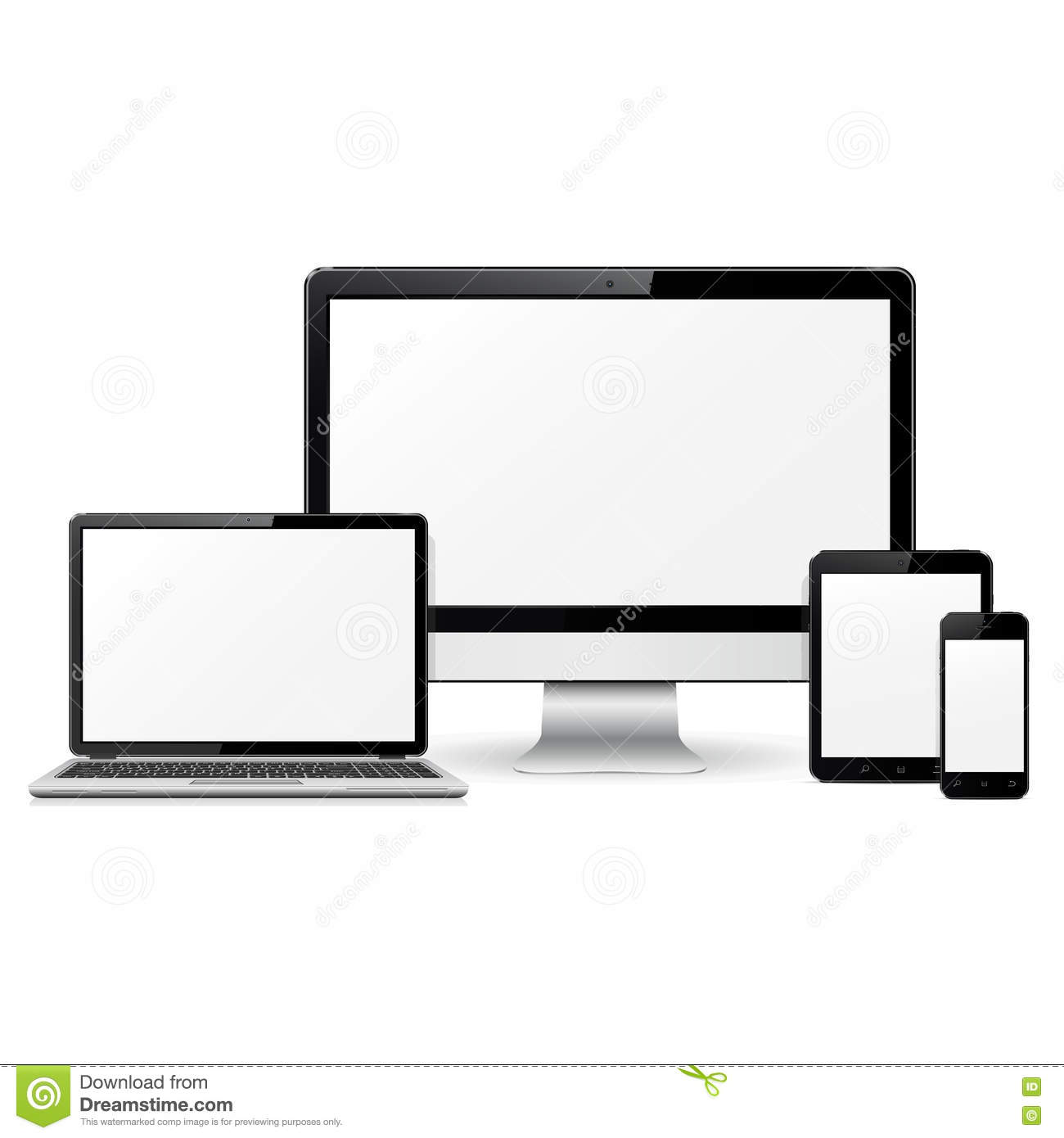 Computer Monitor, Laptop, Tablet Pc And Mobile Phone Template For ...