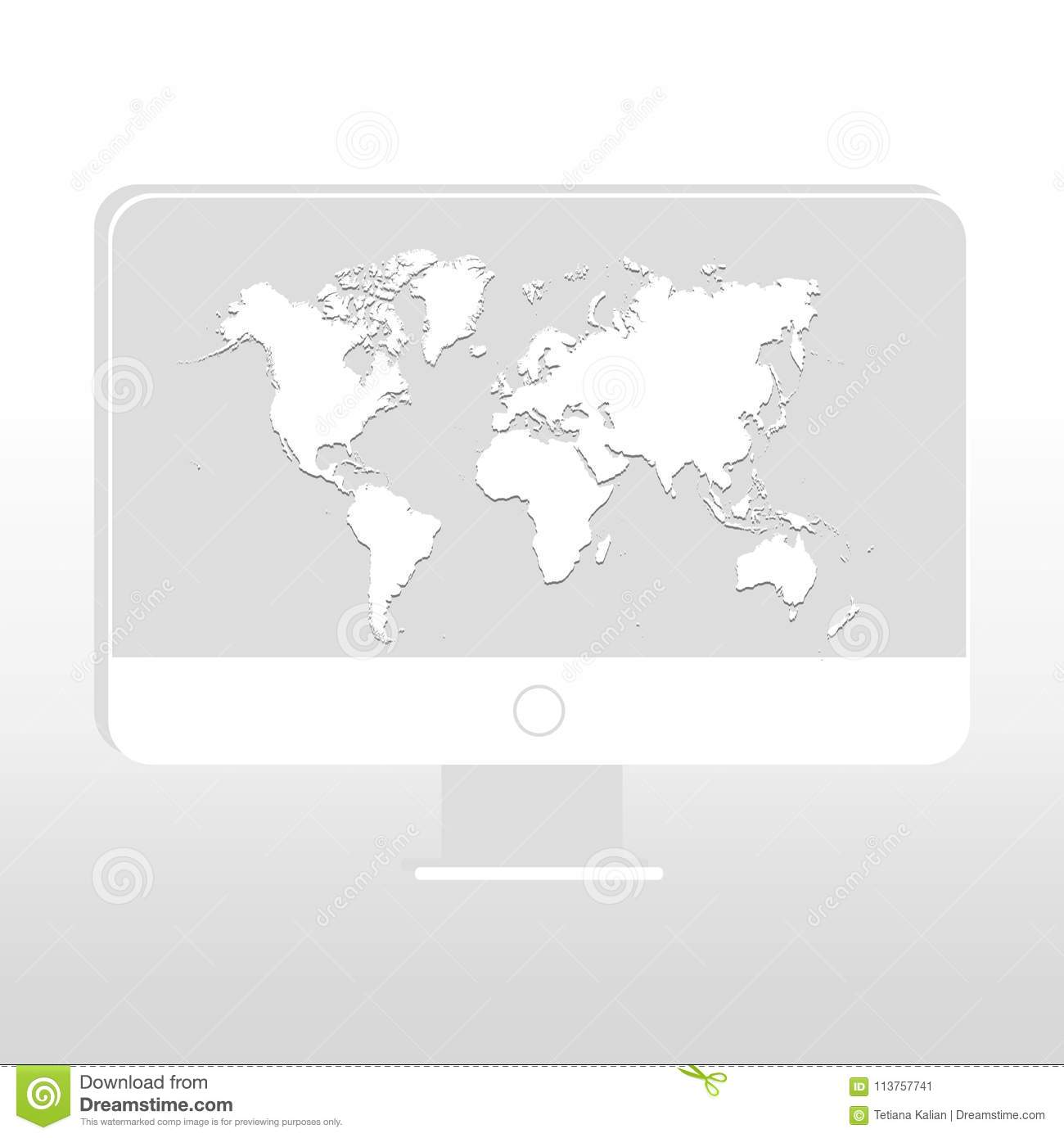 Desktop with world map on screen on gray or white background vector royalty free vector download desktop with world map gumiabroncs Choice Image