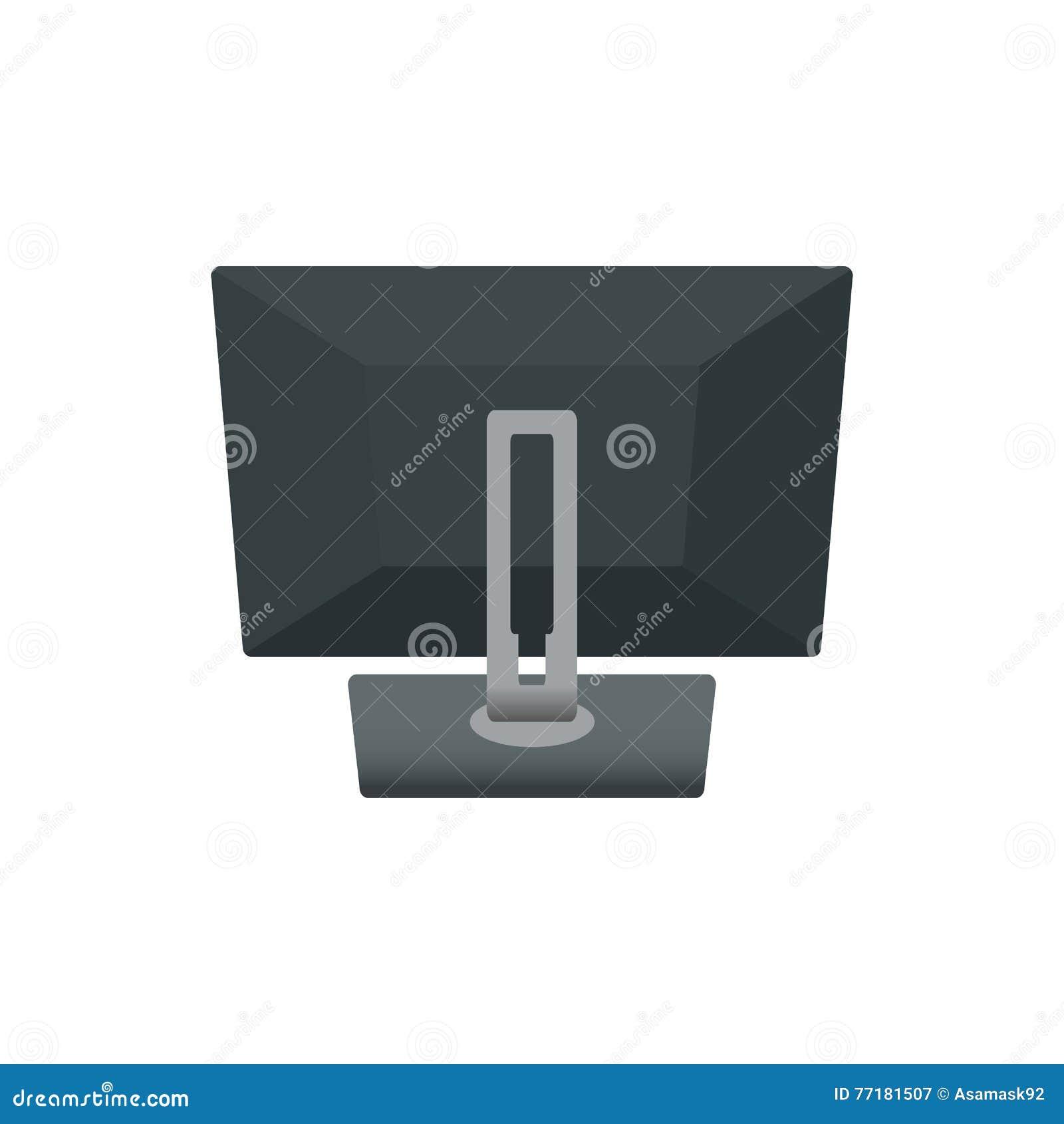 Computer-Monitor-Notizbuch-Laptop, Fernsehrückseite Ikonen-Vektor-Illustration Auf weißem Hintergrund