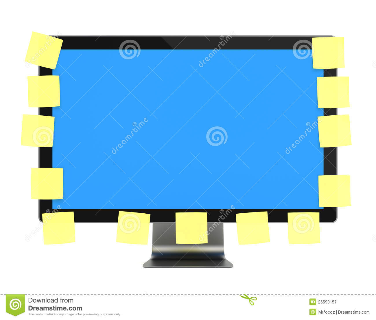 computer monitor with post it royalty free stock. Black Bedroom Furniture Sets. Home Design Ideas