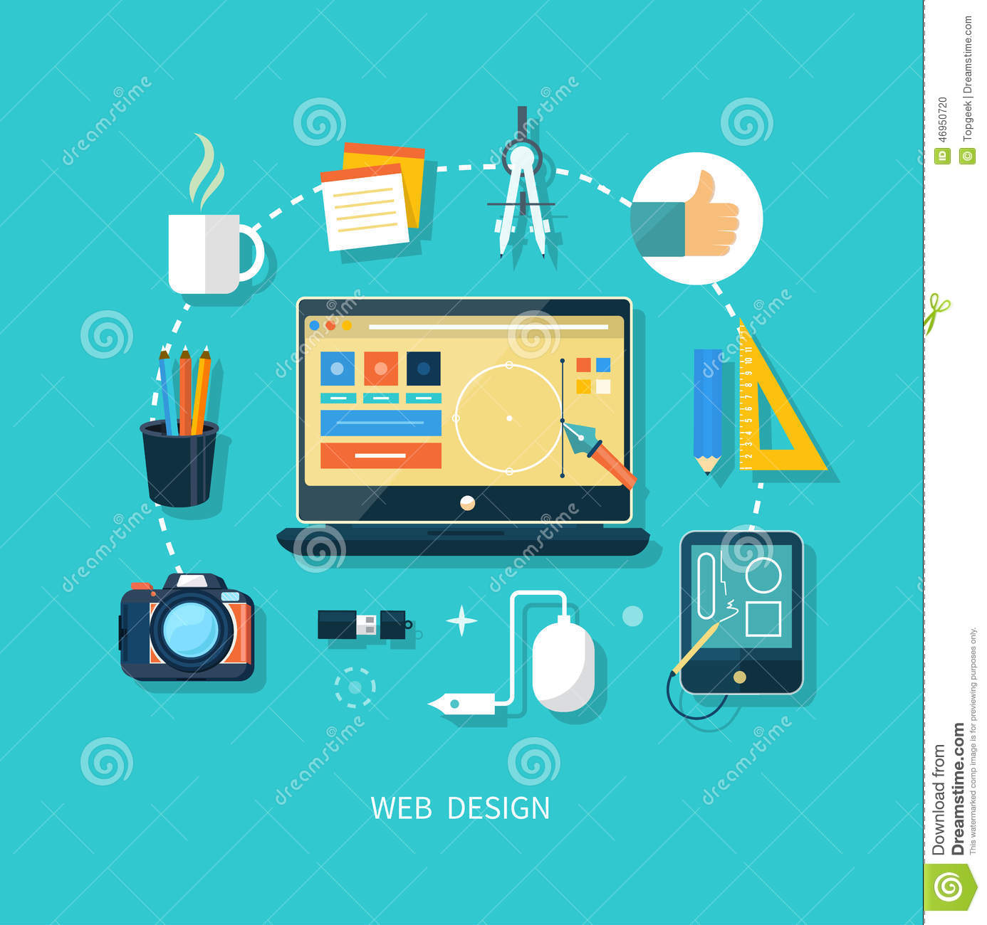 Computer Monitor With Program For Design Stock Vector