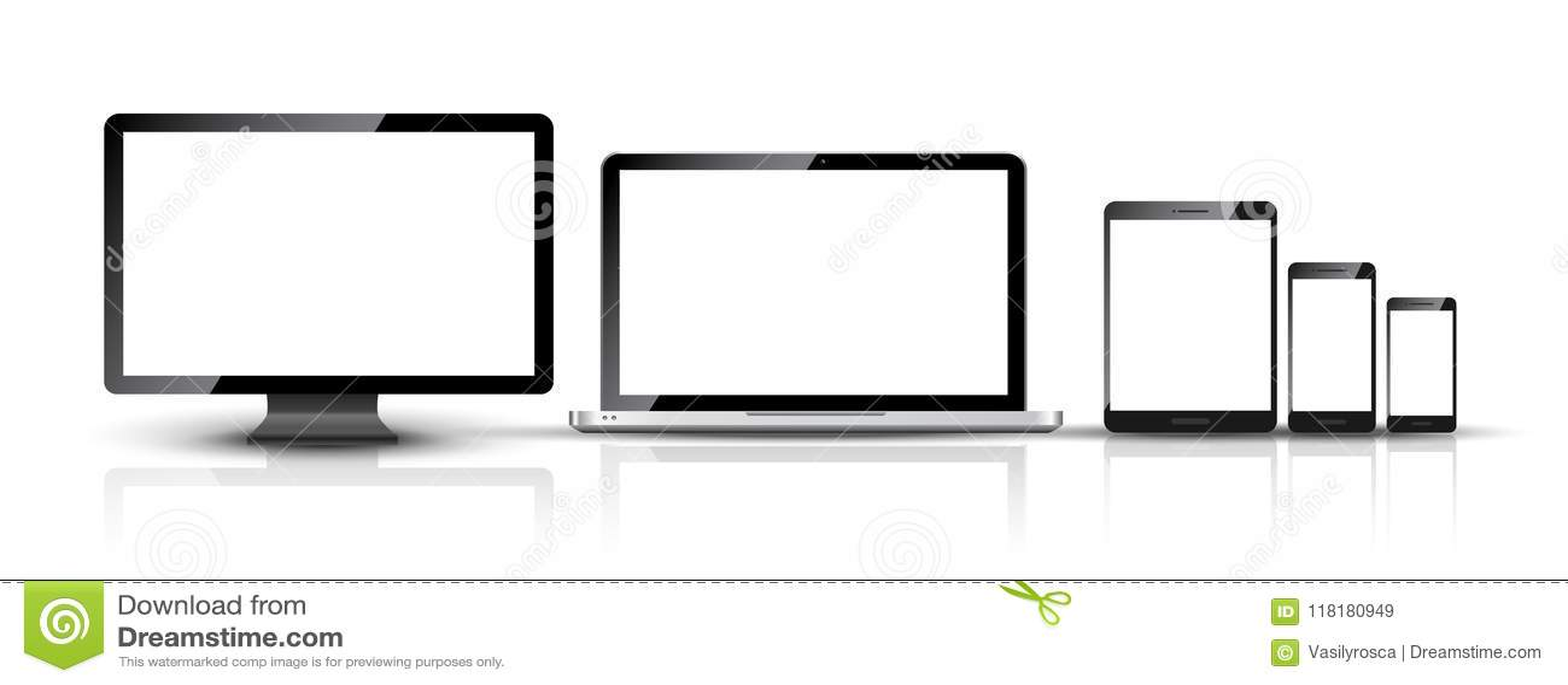Computer monitor, smartphone, laptop and tablet pc design. Mobile phone smart digital device set
