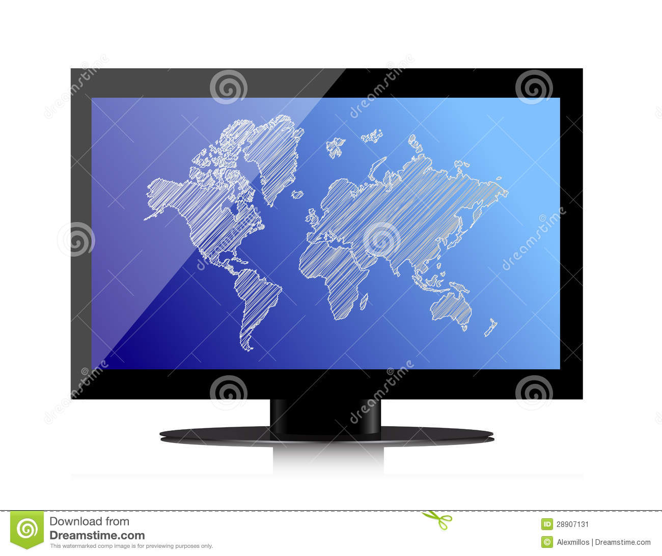 Computer monitor with world map on screen stock illustration computer monitor with world map on screen royalty free stock photo gumiabroncs Gallery