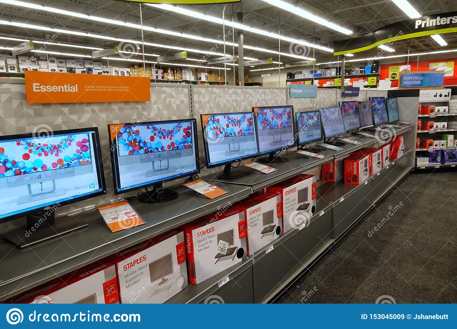Computer Monitors At A Staples Store Editorial Stock Image Image Of Commercial Internet 153045009