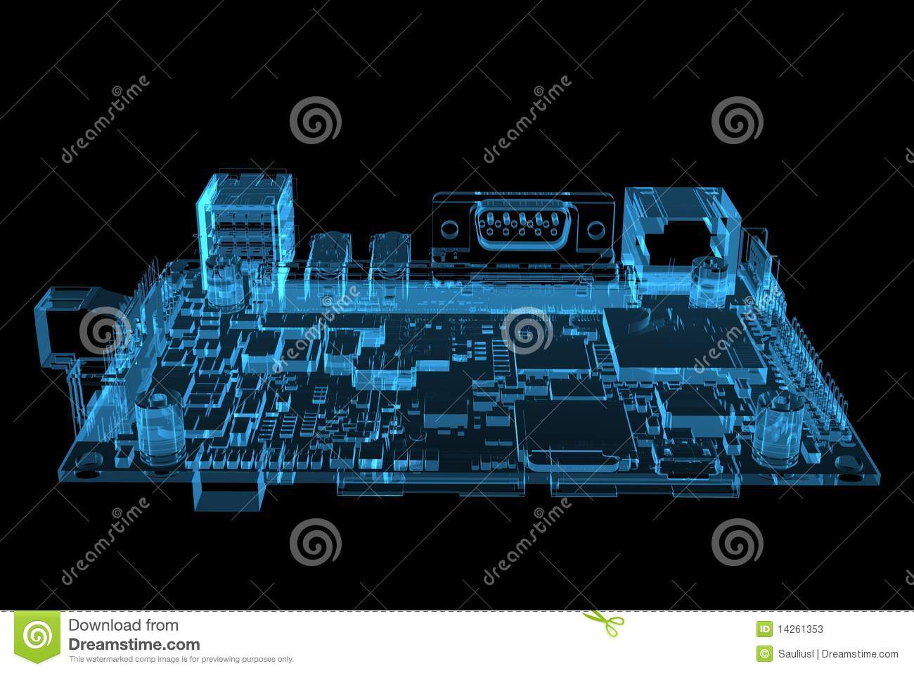 X Ray Circuit Time Wiring Diagram Master Blogs Tube Computer Motherboard 3d Rendered Xray Blue Stock Basic