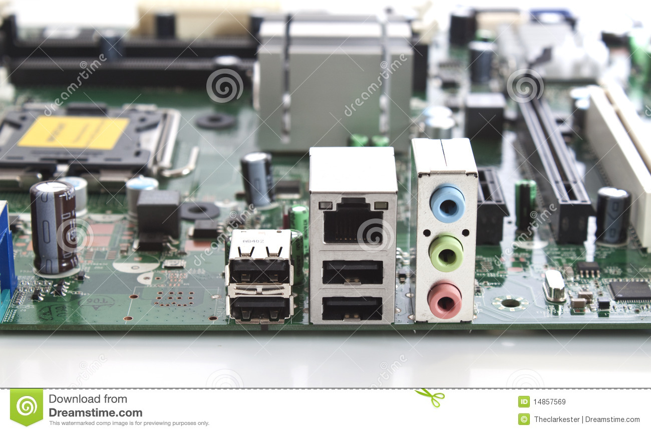 A computer motherboard closeup view of connections