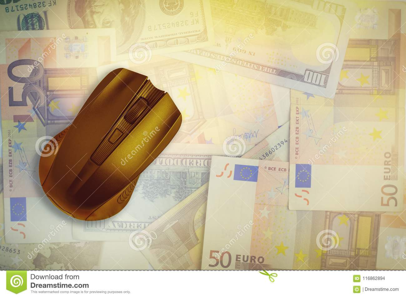 Computer mouse on the background of dollars and euros.