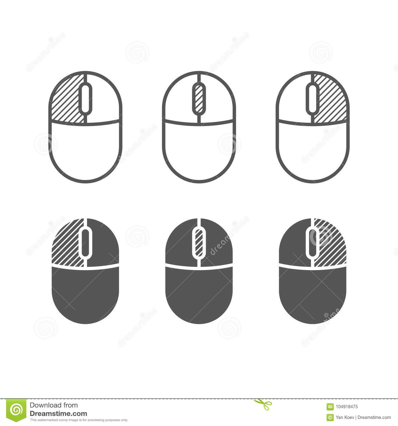 Computer mouse buttons icon. One color symbols.