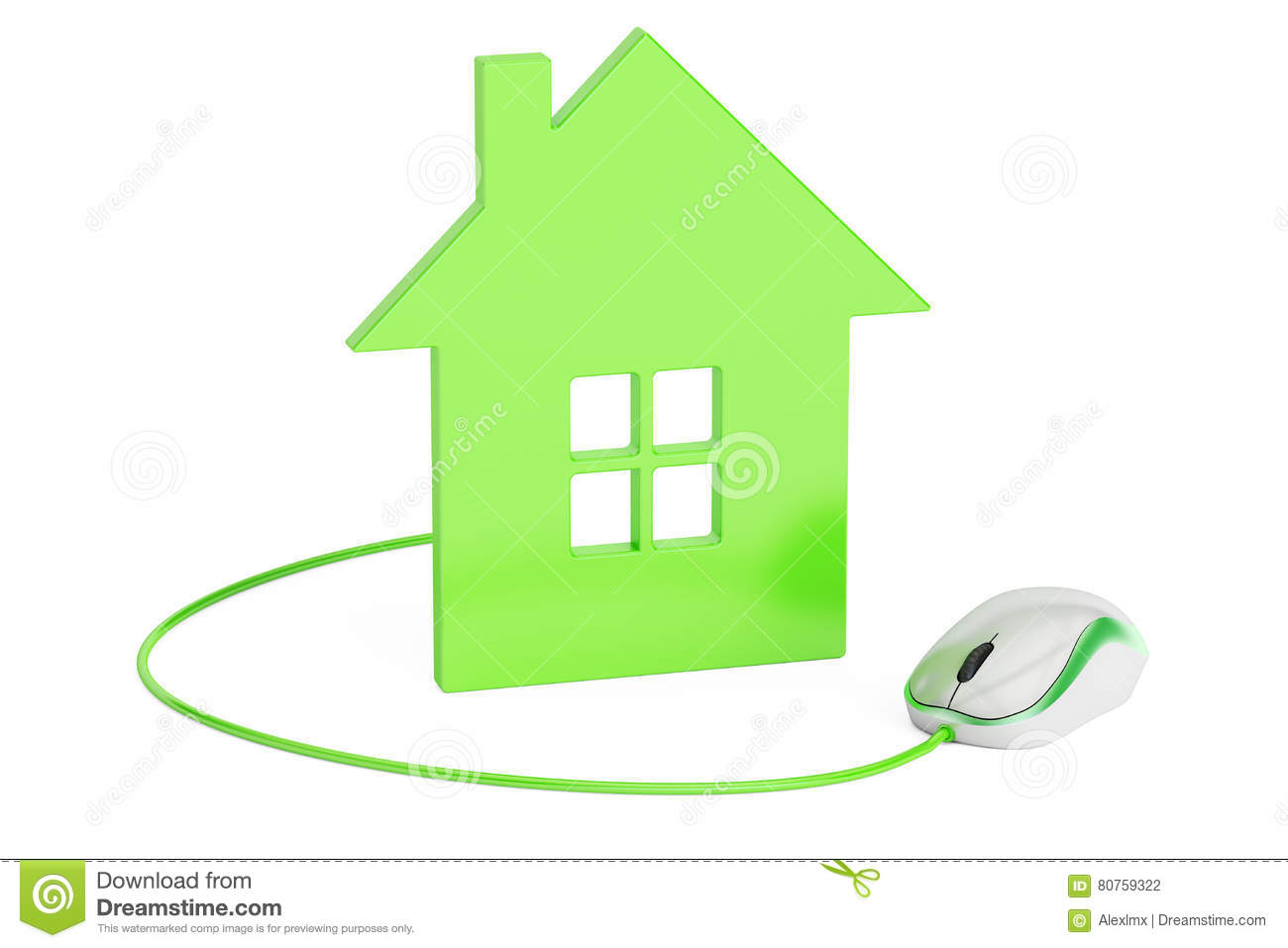 Computer Mouse Connected To House, Home Control Or Real-estate C ...