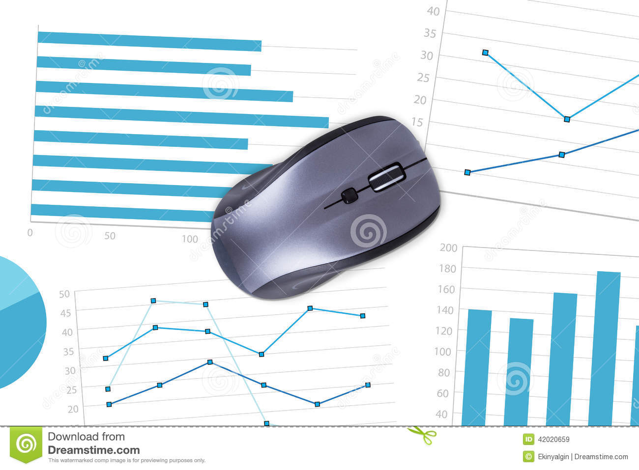 Computer Mouse With Financial Charts Stock Image Of Business Diagram Part In This