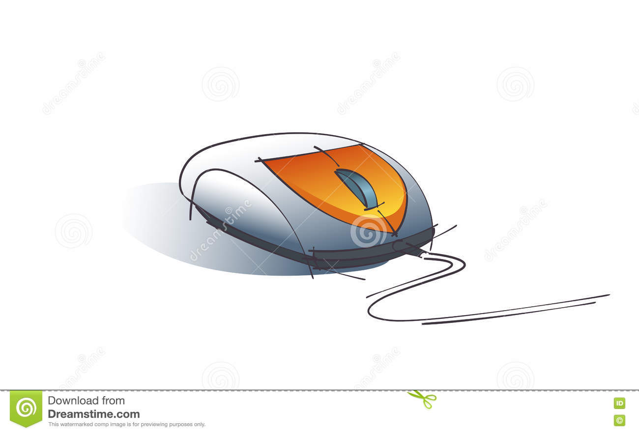 Line Drawing Mouse : Computer mouse sketch stock vector. illustration of object 71076798