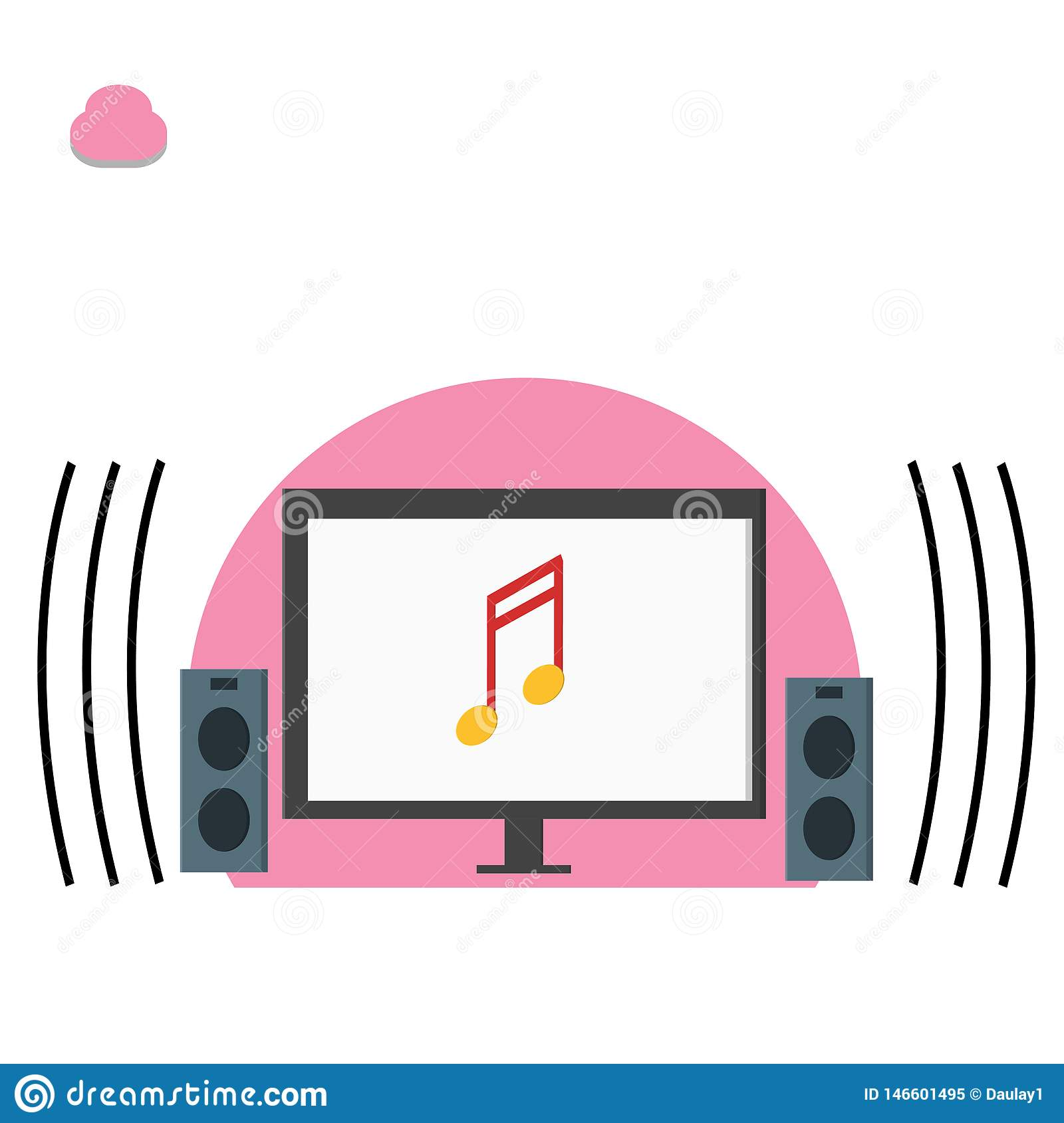 Computer and music note, playing music illustration - vector
