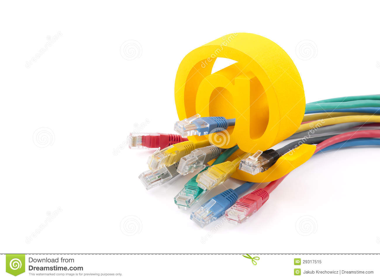 Computer network cables and email symbol