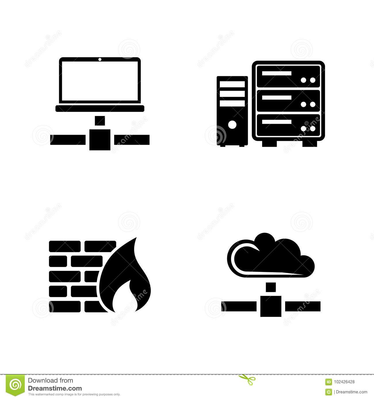 Computer Network  Simple Related Vector Icons Stock Vector